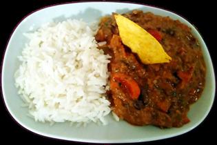 huepfkuh kocht erdnuss chili con carne